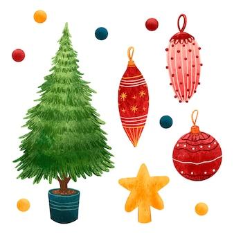 Um conjunto de ilustrações para as decorações de ano novo na árvore de natal, bolas e pingentes, uma estrela no topo da árvore de natal, lantejoulas, lantejoulas, uma árvore de natal em vaso