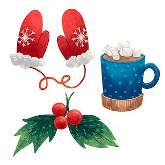 Um conjunto de ilustrações para as luvas vermelhas do ano novo com um floco de neve, uma caneca com cacau, azevinho com bagas vermelhas