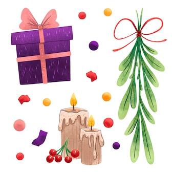 Um conjunto de ilustrações para as velas de ano novo com bagas vermelhas, um galho verde de natal amarrado com uma fita vermelha, um presente roxo, lantejoulas e fitas