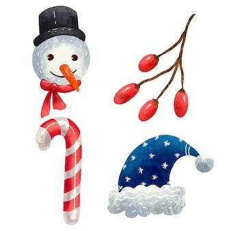 Um conjunto de ilustrações para o ano novo, uma cabeça de boneco de neve, um galho com frutinhas, um chapéu de papai noel azul, um palito de pirulito