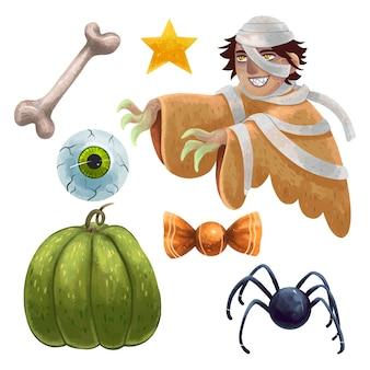 Um conjunto de ilustrações para o halloween com uma múmia, um olho arrancado, um osso, uma aranha, um doce, uma abóbora verde, uma estrela, uma múmia enrolada em bandagens, assustador