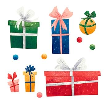 Um conjunto de ilustrações para presentes coloridos de ano novo, caixas de presente e lantejoulas, verdes, azuis, vermelhas, amarelas, rosa com laços
