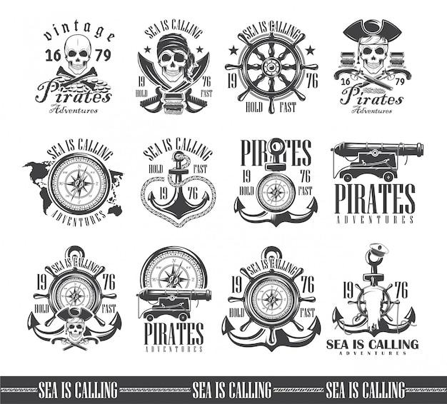 Um conjunto de ilustrações, temas marinhos, ícones e logotipos do crânio. vetor de piratas