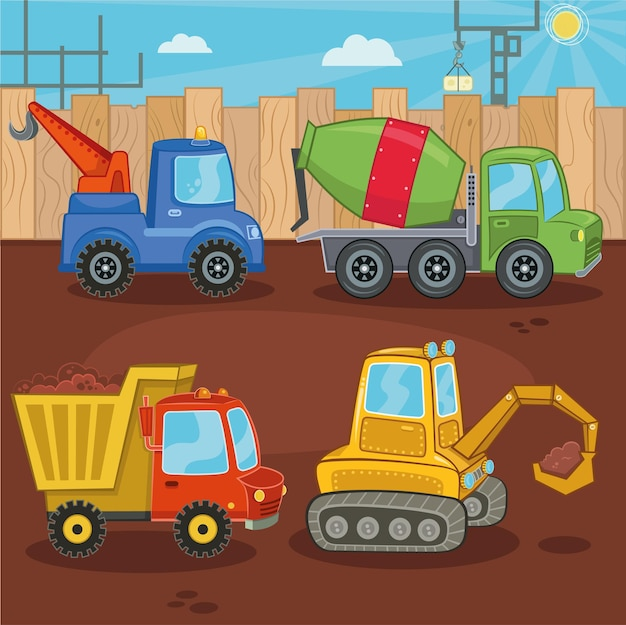 Um conjunto de ilustrações vetoriais de máquina de trabalho guindaste caminhão betoneira escavadeira caminhão basculante