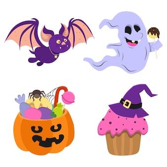 Um conjunto de ilustrações vetoriais de um morcego engraçado e um fantasma com um doce de halloween