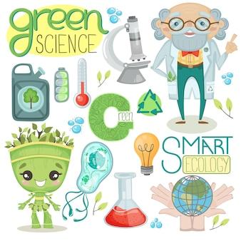 Um conjunto de ilustrações vetoriais sobre ciência e ecologia com a imagem do cientista