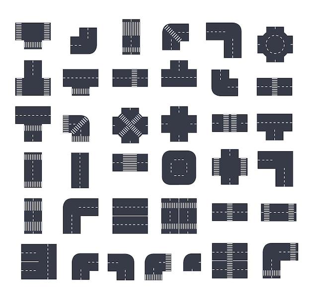 Um conjunto de interseções da cidade vista superior de módulos de ruas