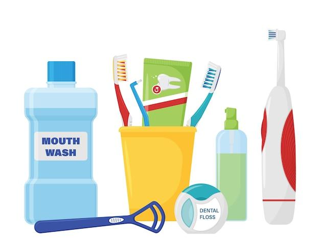 Um conjunto de itens para limpeza de dentes e higiene bucal.