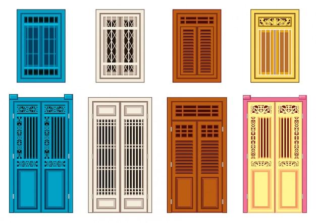 Um conjunto de janelas de portas clássicas.