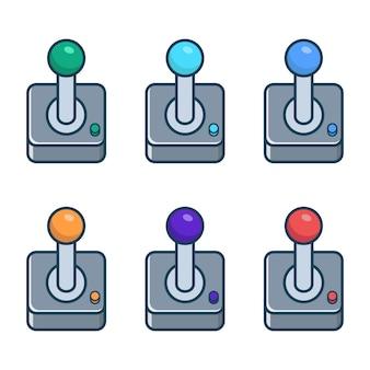 Um conjunto de joysticks retrô multicoloridos para jogar em um computador e consoles videogame vintage