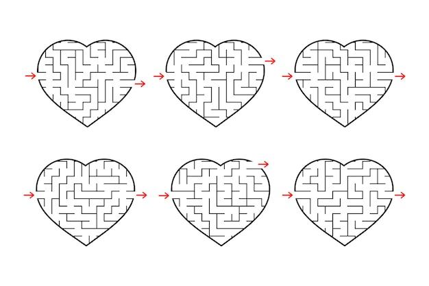 Um conjunto de labirintos de corações