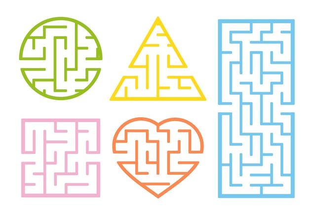 Um conjunto de labirintos. estilo dos desenhos animados. planilhas visuais. página de atividade.