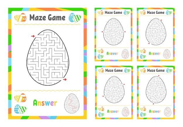 Um conjunto de labirintos. jogo para crianças. quebra-cabeça para crianças. enigma do labirinto.