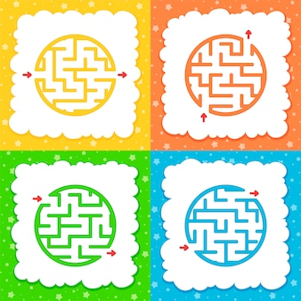 Um conjunto de labirintos. jogo para crianças. quebra-cabeça para crianças.