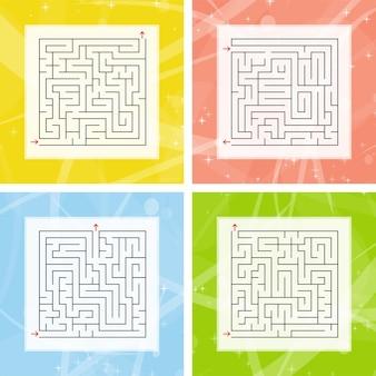 Um conjunto de labirintos quadrados.