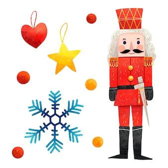 Um conjunto de lantejoulas de quebra-nozes de floco de neve com ilustrações coloridas de natal