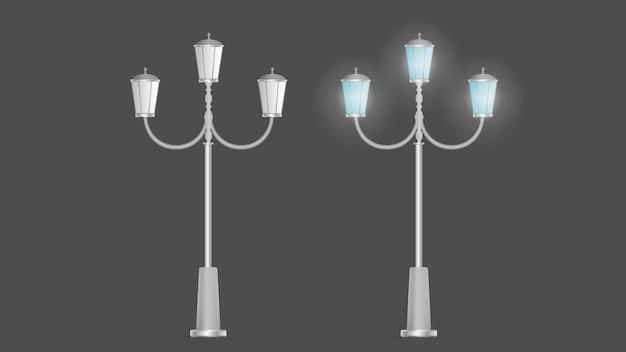 Um conjunto de lanternas metálicas que brilham. poste de luz com luz realista. vetor.