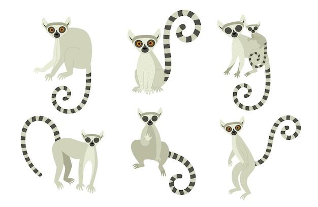 Um conjunto de lêmures em diferentes poses. animais fofos exóticos de madagascar e da áfrica. ilustração em estilo simples