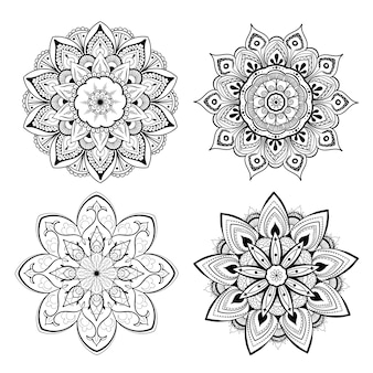 Um conjunto de lindas mandalas e círculos de renda. mandala de gradiente redondo. oriental tradicional