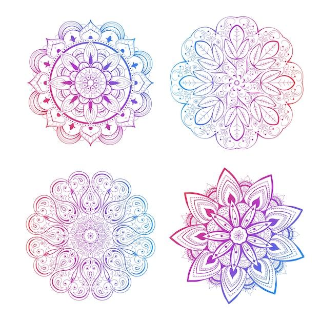 Um conjunto de lindas mandalas e círculos de renda. vetor de mandala gradiente redondo. oriental tradicional