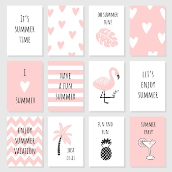 Um conjunto de lindos cartões cor de rosa e pôsteres com elementos de verão