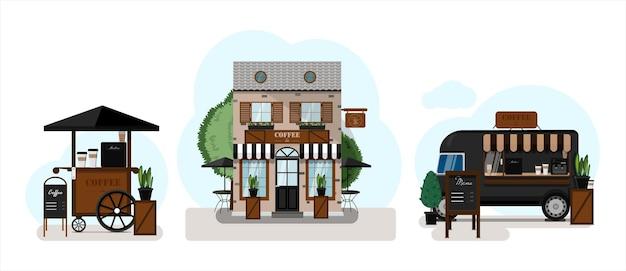 Um conjunto de lojas de vetores, restaurantes e cafés projeto plano de fachadas carrinha de comida de rua