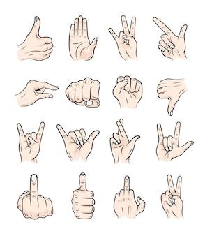 Um conjunto de mãos em um estilo moderno. diferentes gestos com as mãos.