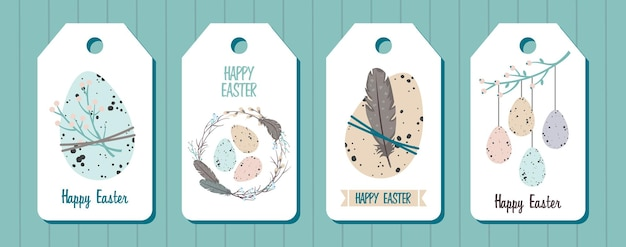 Um conjunto de marcas de feliz páscoa. ovos de páscoa, guirlanda de salgueiro, galhos, penas.