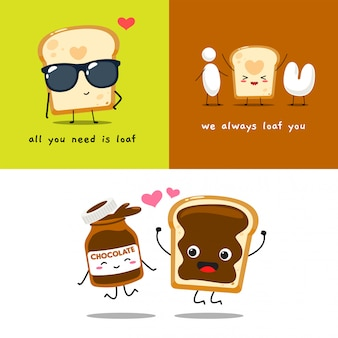Um conjunto de mascote de pão. ilustração vetorial