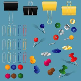 Um conjunto de material de escritório, clipes de papel, pastas e alfinetes, em cores e formas diferentes,