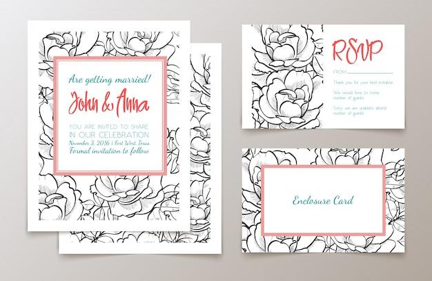 Um conjunto de material de escritório para convidar casamentos,