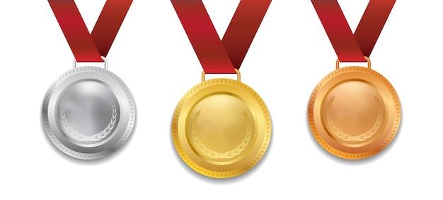 Um conjunto de medalha de prata e bronze realista campeão 3d ouro com ilustração de fita vermelha