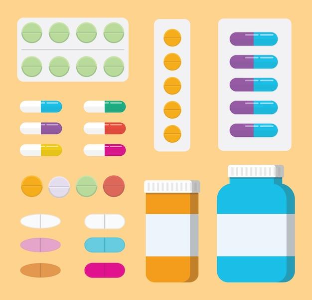 Um conjunto de medicina de comprimidos de coleção ou cuidados de saúde médicos com garrafa e tablet