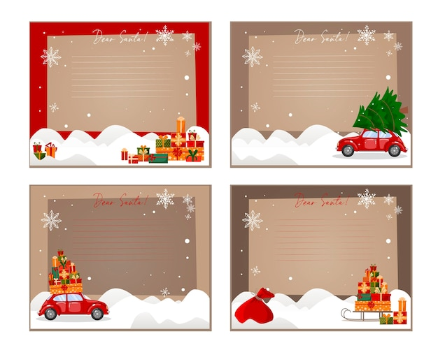 Um conjunto de modelos para escrever ao papai noel. saco de presente do papai noel, carro, árvore de natal, trenó, presentes