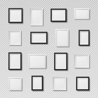 Um conjunto de molduras de fotos realistas espaço em branco para cartão ou foto de pintura