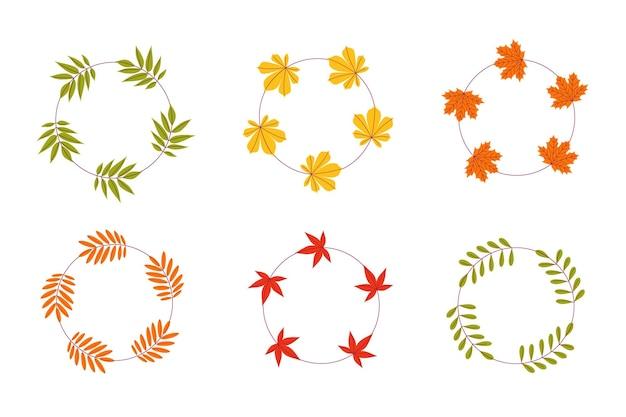 Um conjunto de molduras vetoriais feitas de folhas de outono em um fundo branco e isolado