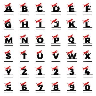 Um conjunto de monogramas personalizados na forma de letras, números e cavalos, vetor de clipart.