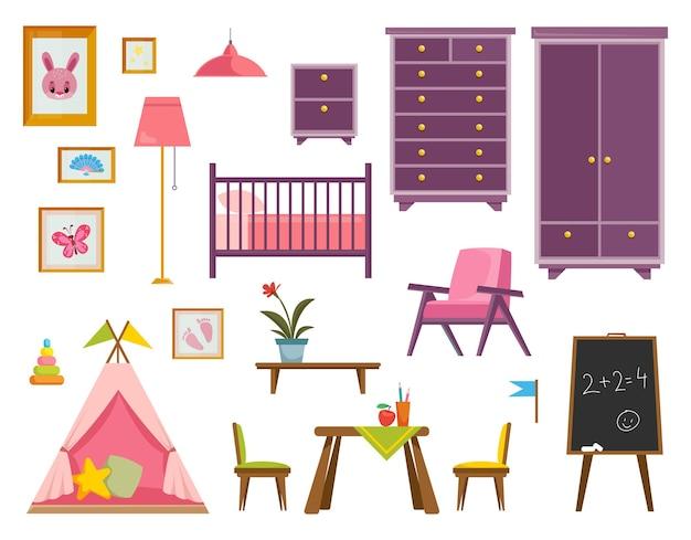 Um conjunto de móveis para um berçário para um bebê recém-nascido rosa um quarto para uma menina