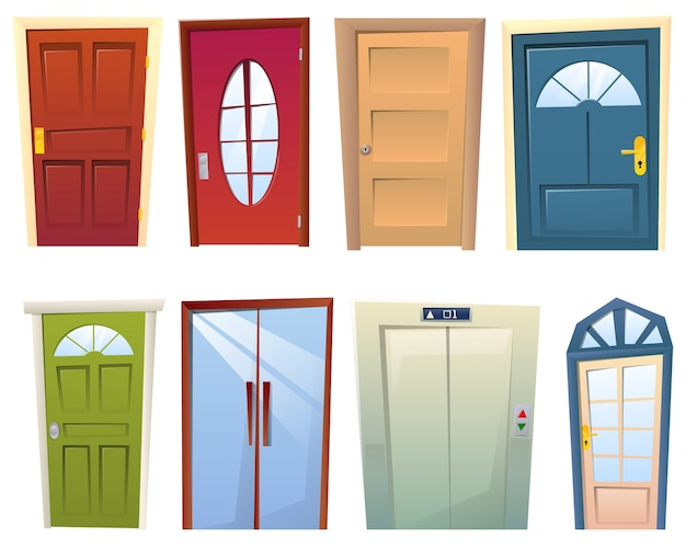 Um conjunto de muitas portas diferentes de desenho animado