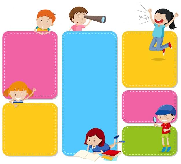 Um conjunto de notas com crianças