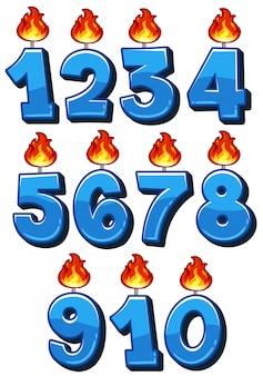 Um conjunto de números de vela