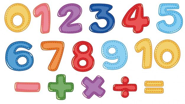 Um conjunto de números e símbolos matemáticos Vetor Premium