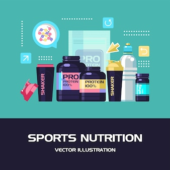 Um conjunto de nutrição esportiva e acessórios para esportes.