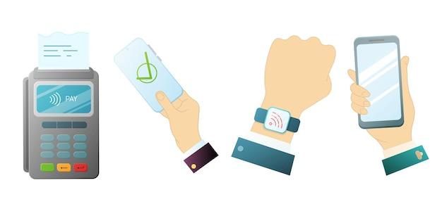Um conjunto de objetos para pagamento seguro via telefone. ilustração vetorial.