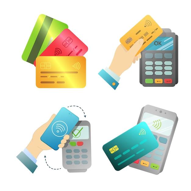 Um conjunto de objetos para pagamento sem contato. ilustração vetorial