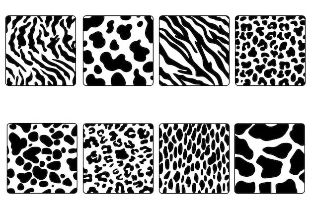 Um conjunto de oito texturas. planos de fundo vetoriais de padrões simples de pele de animal.
