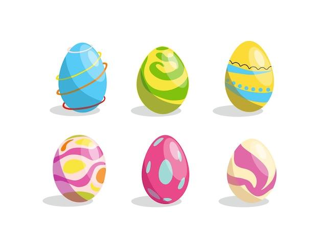 Um conjunto de ovos de páscoa com uma ilustração vetorial padrão