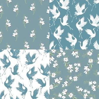 Um conjunto de padrões de guindaste. padrões sem emenda. vetorial, ilustração