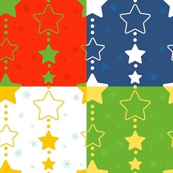 Um conjunto de padrões de natal perfeitos com guirlandas de estrelas