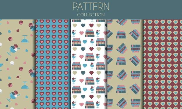 Um conjunto de padrões sem emenda com livros, sorvete e corações. padrões planos de vetor em cores pastel